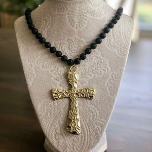 Jewelry - Black Lava Rock Cross Necklace